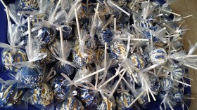 Wrapped Drizzled Blue Cake Pop Favors