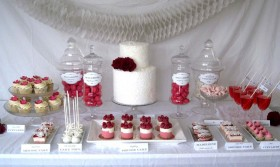 Pink and Red Dessert Table