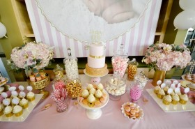 Pink White & Gold Dessert Table