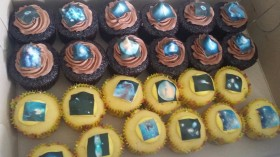 Space Themed Chocolate and Vanilla Cupcake