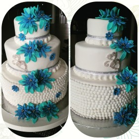 Turquoise and Blue Cake