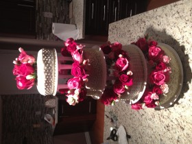 Tall Rose Flower Wedding Cake