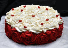 Flower and Heart Cream Cake