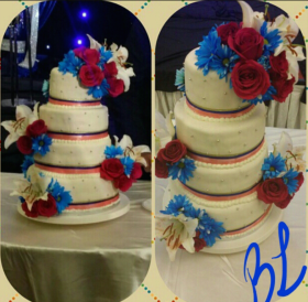 Blue & Red Wedding Cake