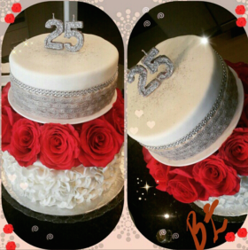 25th Anniversary Ruffle Rose Cake