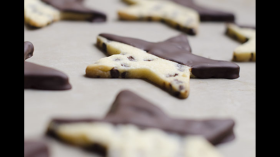 Chocolate Chip Shortbread Cookie Dipped in Chocolate