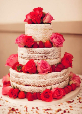 Naked Strawberry Rose Cake