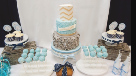 Grey and Blue Dessert Table