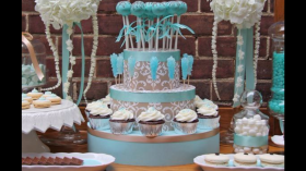 Light Blue and White Dessert Table