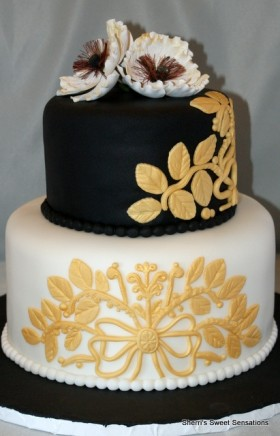 Black & Gold Engagement Cake