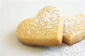 Heart shape Shortbread Cookie Sprinkled with Icing Sugar