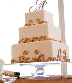 Square Cake with Gold Swirls