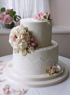 White Hydrangea Lace Cake
