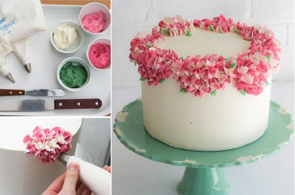 piped buttercream hydrangea cake tutorial by Erica O'Brien on Project Wedding