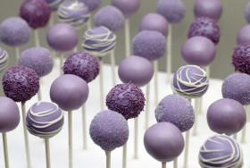 purple bridal shower cake pops