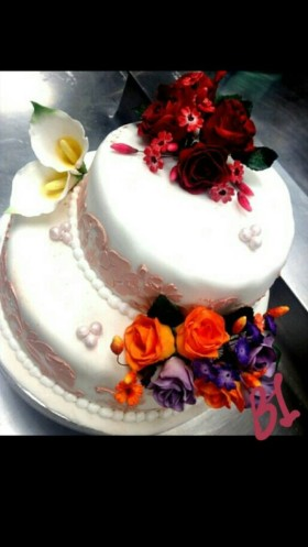 Sugar Flower Engagement Cake