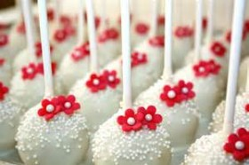 Bridal Shower Red and White Cake pops