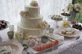 White and Pink Dessert Table